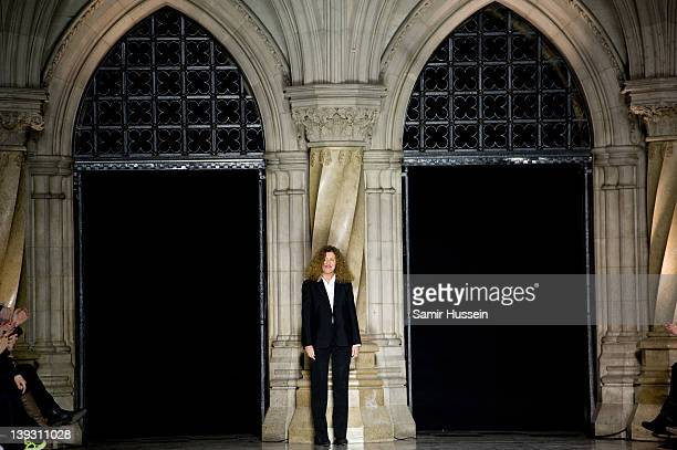 Designer Nicole Farhi on the catwalk during the Nicole Farhi show during London Fashion Week Autumn/Winter 2012 at the Royal Courts of Justice on...