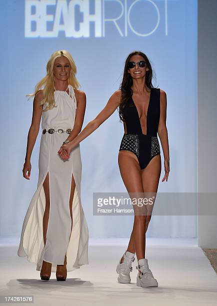 Designer Nicole Hanriot walks the runway at the Beach Riot show during MercedesBenz Fashion Week Swim 2014 at Cabana Grande at the Raleigh on July 22...