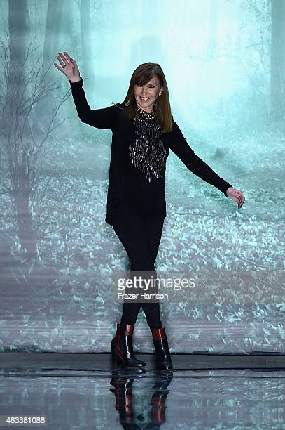 Designer Nicole Miller walks the runway at the Nicole Miller fashion show during Mercedes-Benz Fashion Week Fall 2015 at The Salon at Lincoln Center...