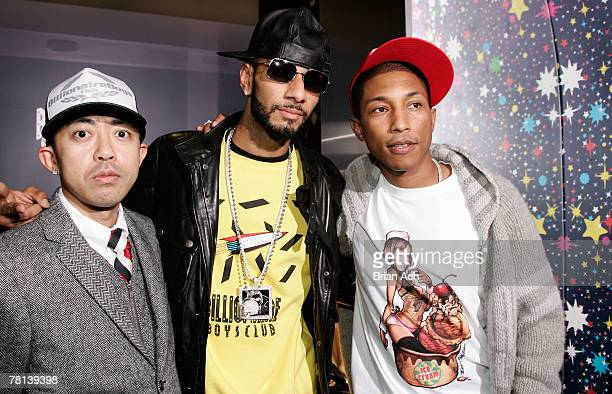 Designer Nigo rapper Swizz Beatz and musician Pharell Williams at the Billionaire Boys Club / Ice Cream Flagship Store Opening on November 28 in New...