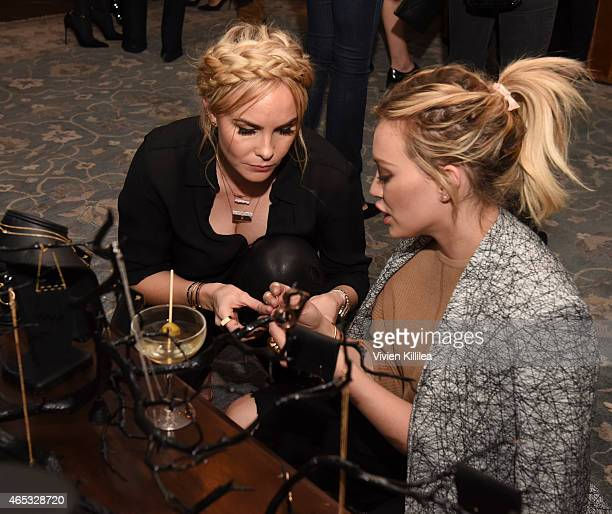 Designer Nikki Erwin and actress Hilary Duff attend the Established Jewelry By Nikki Erwin Launch Party Hosted By Erin Sara Foster on March 5 2015 in...