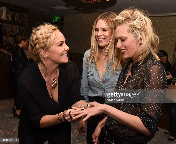 Designer Nikki Erwin and actresses Sara and Erin Foster attend the Established Jewelry By Nikki Erwin Launch Party Hosted By Erin Sara Foster on...