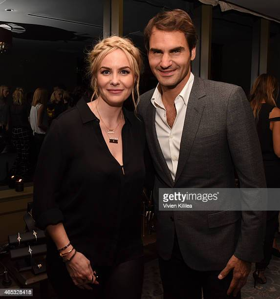 Designer Nikki Erwin and tennis player Roger Federer attend the Established Jewelry By Nikki Erwin Launch Party Hosted By Erin Sara Foster on March 5...