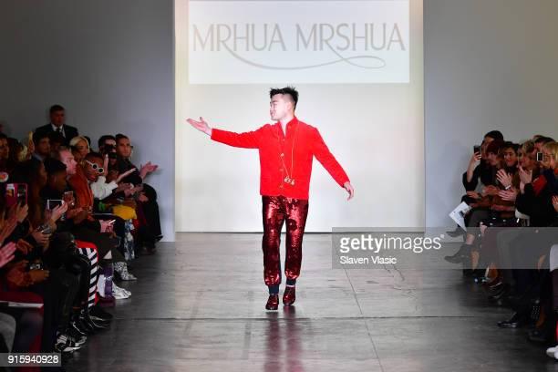 Designer NiuNiu Chou walks the runway for Global Fashion Collective Presents MRHUA MRSHUA during New York Fashion Week First Stage at Industria...