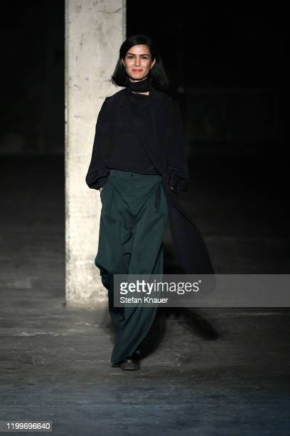 Designer Nobieh Talaei acknowledges the applause of the audience after the Nobi Talai show during Berlin Fashion Week Autumn/Winter 2020 at Kraftwerk...