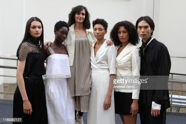 Designer Nobieh Talaei and models pose after the Nobi Talai fashion show during the Berlin Fashion Week Spring/Summer 2020 at Parochialkirche on July...
