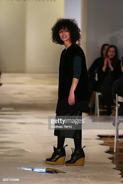 Designer Nobieh Talaei is seen on the runway after the show of her label Nobi Talai as part of Der Berliner Mode Salon during the MercedesBenz...