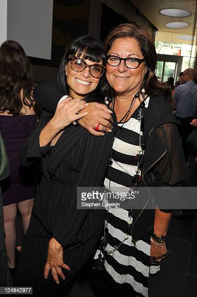 Designer Norma Kamali and Fern Mallis attend the Norma Kamali Spring 2012 collection and launch of NORMAKAMALI3D at David Rubenstein Atrium on...