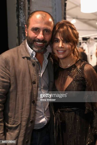 Designer Numan Ataker and Paula Abdul prepares backstage for John Paul Ataker fashion show during New York Fashion Week The Shows at Gallery 1...