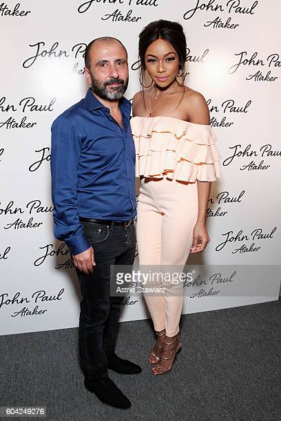 Designer Numan Nimet and Bonang Matheba pose backstage at the John Paul Ataker fashion show during New York Fashion Week The Shows at The Dock...