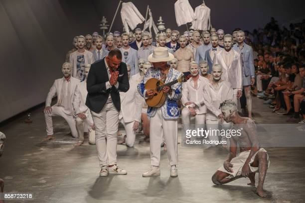 Designer Nuno Gama and Musican Mike during the catwalk during Nuno Gama contest runway show on October 7 2017 in Lisboa CDP Portugal