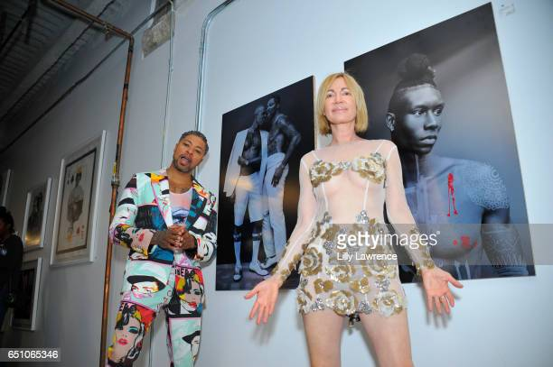 Designer Octavius Terry and artist Karen Bystedt attend Karen Bystedt's 'Kings And Queens' exhibition on March 9 2017 in Los Angeles California