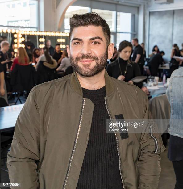 Designer Oday Shakar on backstage for Oday Shakar Fall/Winter 2017 collection runway show during New York Fashion Week at Pier 59 Studios Manhattan