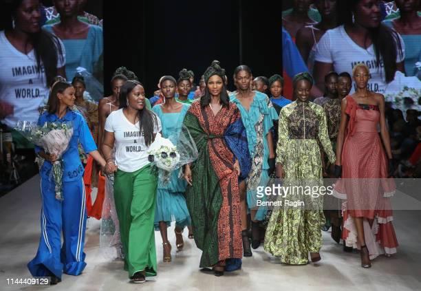 Designer Odio Mimonet model walk the runway wearing Odio Mimonet during Arise Fashi on Week on April 21, 2019 in Lagos, Nigeria.
