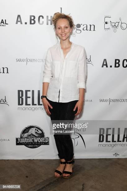 Designer of ABCH Courtney Holm arrives ahead of the Jurassic World Fallen Kingdom Runway Show on April 11 2018 in Sydney Australia