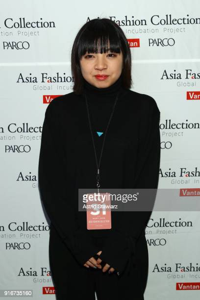 Designer of epi a la mode Miho Tsutsumi poses backstage at the Asia Fashion Collection fashion show during New York Week The Shows at Gallery II at...