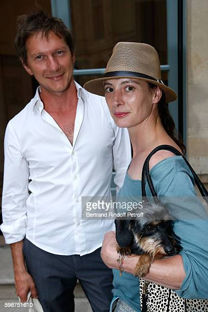 Designer of existential mathematics, Laurent De Robert, choreographer Marie-Agnes Gillot and her dog attend the Presentation of the new Van Cleef &...