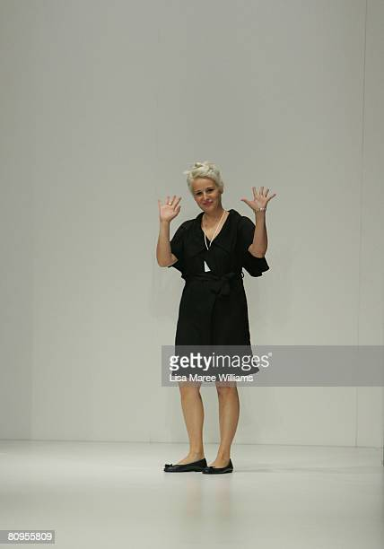 Designer of Mad Cortes Maria Vukovic appears on stage following her catwalk show during the fifth day of the Rosemount Australian Fashion Week...