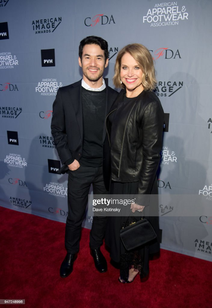 Designer of the Year Joseph Altuzarra and Host Katie Couric arrives at the American Apparel & Footwear Association's 40th Annual American Image Awards on 2018 on April 16, 2018 in New York City.