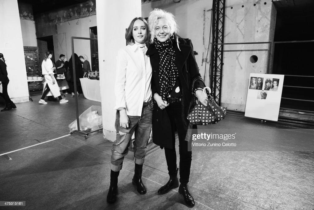 Designer Olga Sorokina and Ellen Von Unwerth pose backstage prior the IRFE by Olga Sorokina show as part of the Paris Fashion Week Womenswear Fall/Winter 2014-2015 at Espace Vendome on February 27, 2014 in Paris, France.