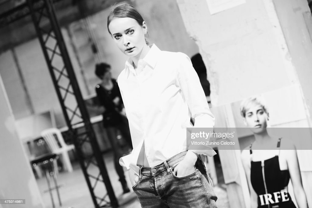 Designer Olga Sorokina poses backstage prior the IRFE by Olga Sorokina show as part of the Paris Fashion Week Womenswear Fall/Winter 2014-2015 at Espace Vendome on February 27, 2014 in Paris, France.