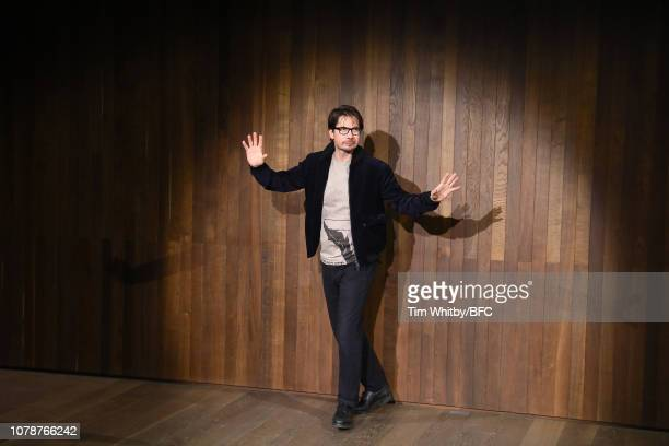 Designer, Oliver Spencer, during the finale of his show during London Fashion Week Men's January 2019 at the Royal Academy of Arts on January 7, 2019...