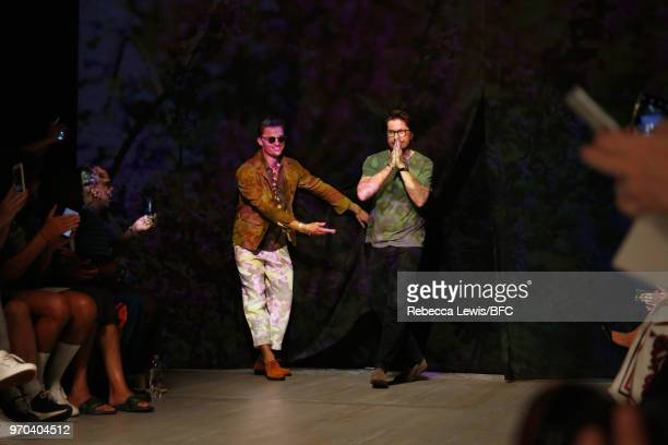 Designer Oliver Spencer is seen on the runway at the Oliver Spencer show during London Fashion Week Men's June 2018 at BFC Show Space on June 9 2018...