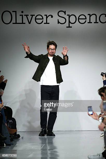 Designer Oliver Spencer walks the runway at the Oliver Spencer show during London Fashion Week Men's January 2017 collections at BFC Show Space on...