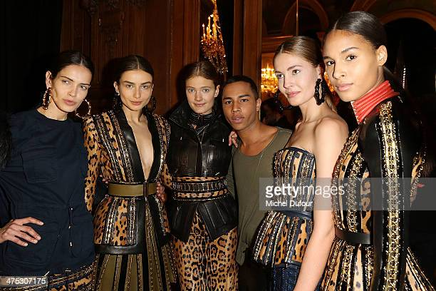 Designer Olivier Rousteing and Models pose after the Balmain show as part of the Paris Fashion Week Womenswear Fall/Winter 20142015 on February 27...