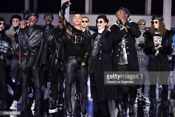 Designer Olivier Rousteing and models walk the runway during the Balmain Homme Menswear Fall/Winter 20192020 show as part of Paris Fashion Week on...