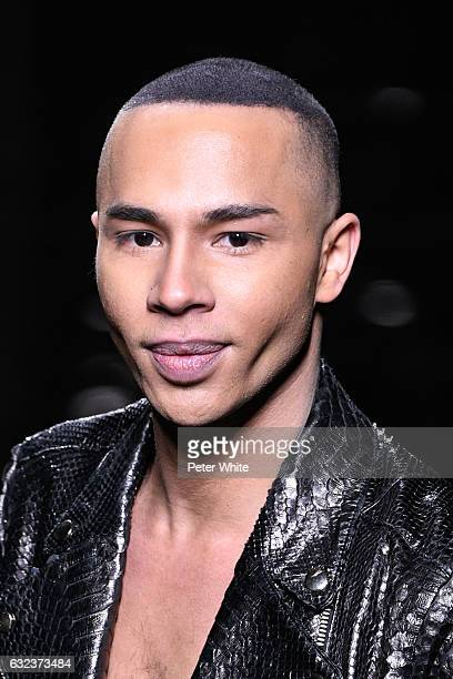 Designer Olivier Rousteing walks the runway after the Balmain Menswear Fall/Winter 20172018 show as part of Paris Fashion Week on January 21 2017 in...