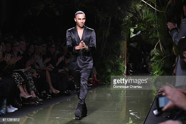 Designer Olivier Rousteing walks the runway during the Balmain show as part of the Paris Fashion Week Womenswear Spring/Summer 2017 on September 29...