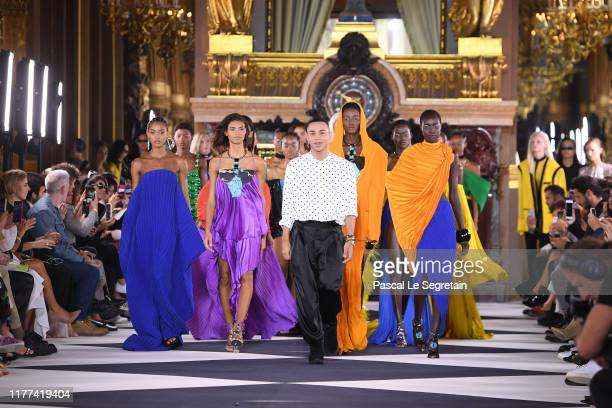 Designer Olivier Rousteing walks the runway during the finale at the Balmain Womenswear Spring/Summer 2020 show as part of Paris Fashion Week on...