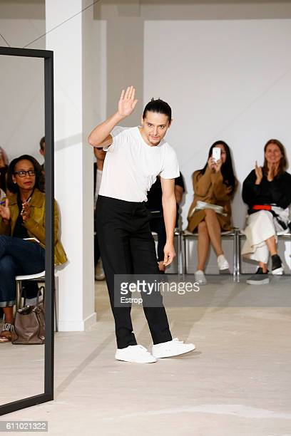 Designer Olivier Theysen walks the runway during the Olivier Theysen show as part of the Paris Fashion Week Womenswear Spring/Summer 2017 on...