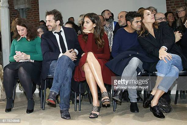 Designer Olympia Le Tan Actor Edouard Baer Actress Hiba Abouk Actor Jamel Debbouze Journalist Melissa Theuriau attend the Azzedine Alaia Fashion Show...