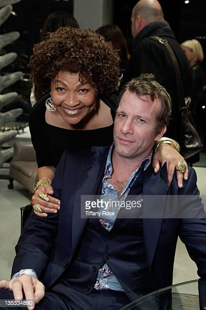 Designer Opal Stone and actor Thomas Jane attends the Opal Stone Luxury Handbags And Fine Jewelry Launch at Gray Gallery on December 8 2011 in...