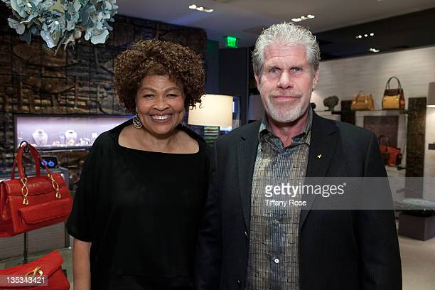 Designer Opal Stone and Ron Perlman attend the Opal Stone Luxury Handbags And Fine Jewelry Launch at Gray Gallery on December 8 2011 in Beverly Hills...