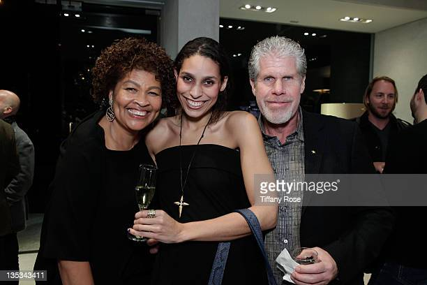 Designer Opal Stone Blake Amanda and Ron Perlman attend the Opal Stone Luxury Handbags And Fine Jewelry Launch at Gray Gallery on December 8 2011 in...