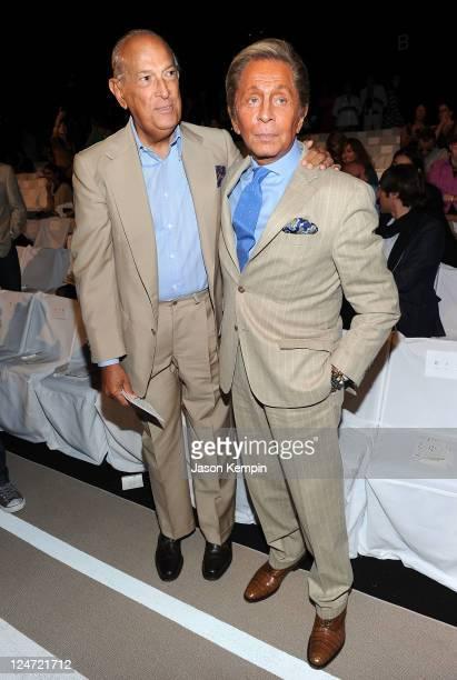 Designer Oscar de la Renta and designer Valentino Garavani attend the Diane Von Furstenberg Spring 2012 fashion show during Mercedes-Benz Fashion...