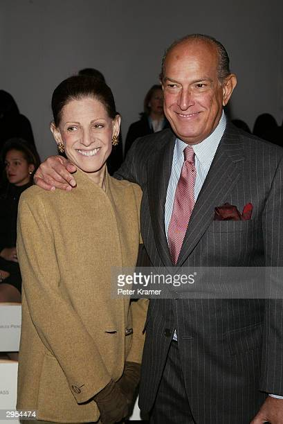 Designer Oscar de la Renta and his wife attend the Oscar De La Renta fashion show during Olympus Fashion Week at Bryant Park February 9 2004 in New...