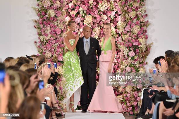 Designer Oscar de la Renta and model Karlie Kloss walk the runway at the Oscar De La Renta fashion show during MercedesBenz Fashion Week Spring 2015...