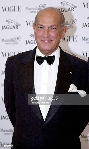 Designer Oscar De La Renta arrives at the Vogue Jaguar 'Its Fashion' charity gala June 11 2001 at Waddesdon Manor in Buckinghamshire England in aid...