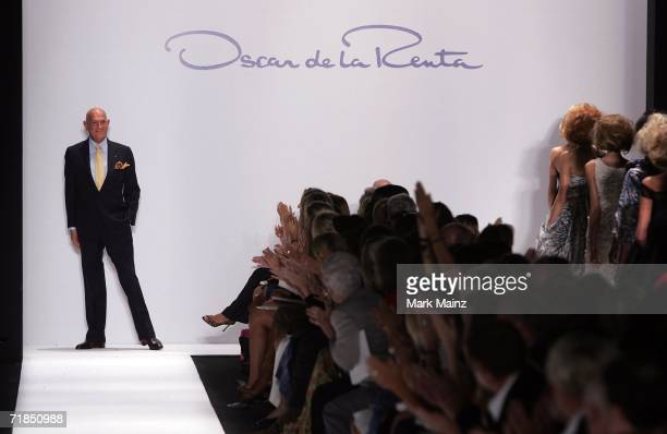Designer Oscar de la Renta walks the runway at the Oscar de la Renta Spring 2007 fashion show during Olympus Fashion Week in the Tent in Bryant Park...