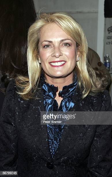 Designer Pam Devos poses backstage at the Pamella Roland Fall 2006 fashion show at Bryant Park during Olympus Fashion Week on February 9 2006 in New...