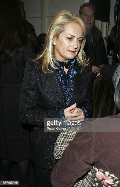 Designer Pam Devos stands backstage at the Pamella Roland Fall 2006 fashion show at Bryant Park during Olympus Fashion Week on February 9 2006 in New...