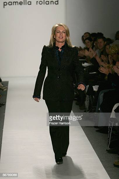 Designer Pam Devos walks the runway at the Pamella Roland Fall 2006 fashion show at Bryant Park during Olympus Fashion Week on February 9 2006 in New...