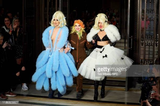 Designer Pam Hogg and Alice Dellal walk the runway at the Pam Hogg show during London Fashion Week February 2019 on February 17 2019 in London England