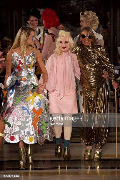 Designer Pam Hogg and her models walk the runway at the Pam Hogg show during London Fashion Week Spring/Summer Collections 2017 on September 16th...