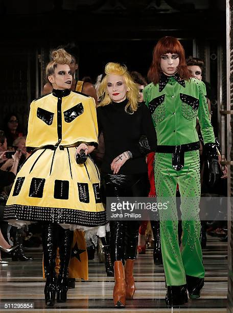 Designer Pam Hogg and model Alice Dellal walk the runway at the Pam Hogg show at Fashion Scout during London Fashion Week Autumn/Winter 2016/17 at...