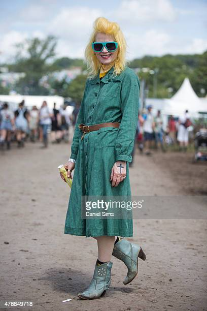 Designer Pam Hogg wearing a vintage outfit at the Glastonbury Festival at Worthy Farm Pilton on June 27 2015 in Glastonbury England